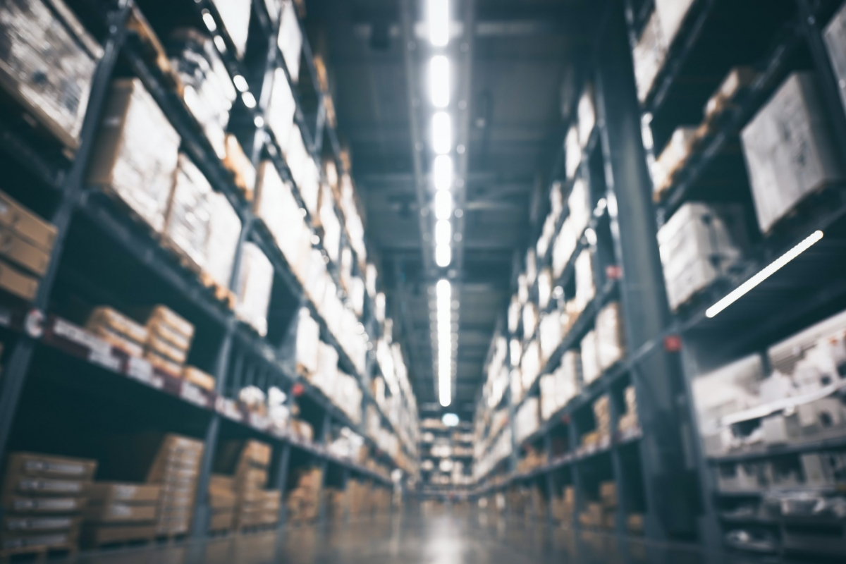 Blurry background of Warehouse inventory product stock for logistic background, concept of international import and export shipment